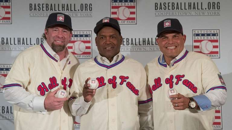 Newly elected baseball Hall of Fame inductees Jeff
