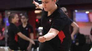 Middle Country eighth-grader Hannah Skalacki bowls during a
