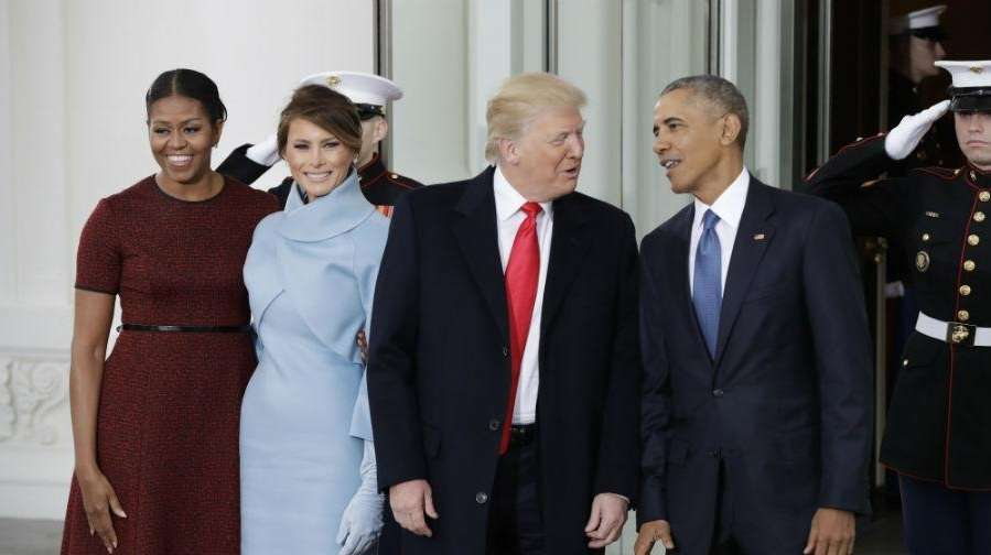 First lady Michelle Obama, Melania Trump, President-elect Donald