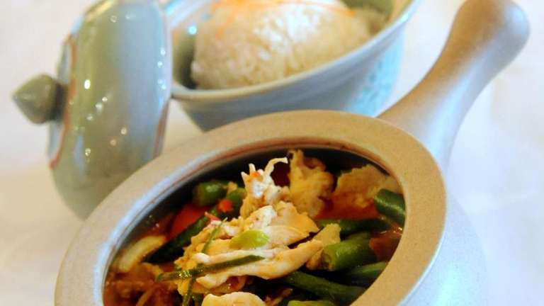 A dish of Thai Hot Penang Chicken Curry