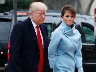 President-elect Donald Trump and wife Melania arrive for