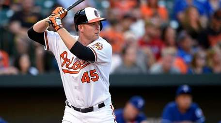 Baltimore Orioles' Mark Trumbo bats during the team's