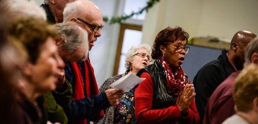 Margaret Harvey, of Brentwood, sings