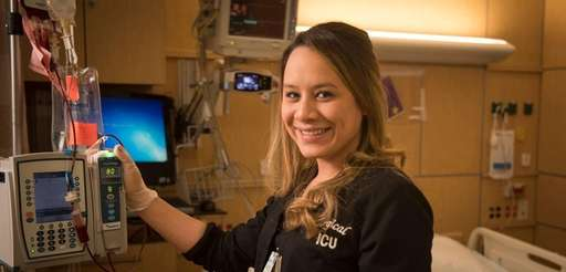Intensive care nurse Raquel Fuentes works in the