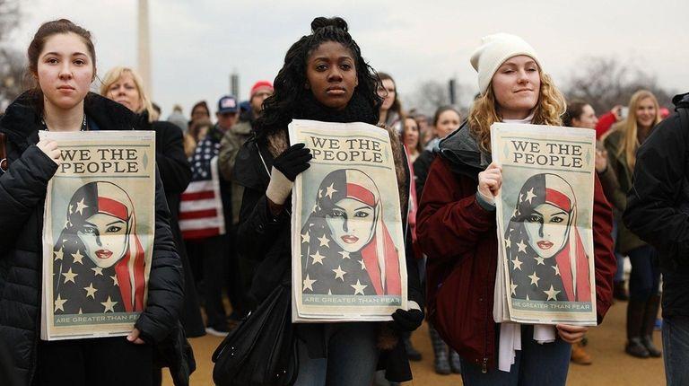 WASHINGTON, DC - JANUARY 20: People watch on