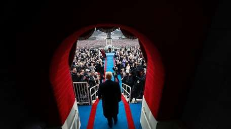 Then-President-elect Donald J. Trump arrives at his