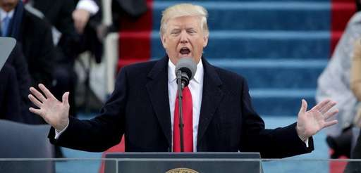 President Donald Trump delivers his inaugural address on