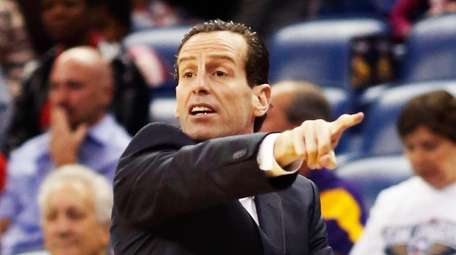 Brooklyn Nets coach Kenny Atkinson gestures to his