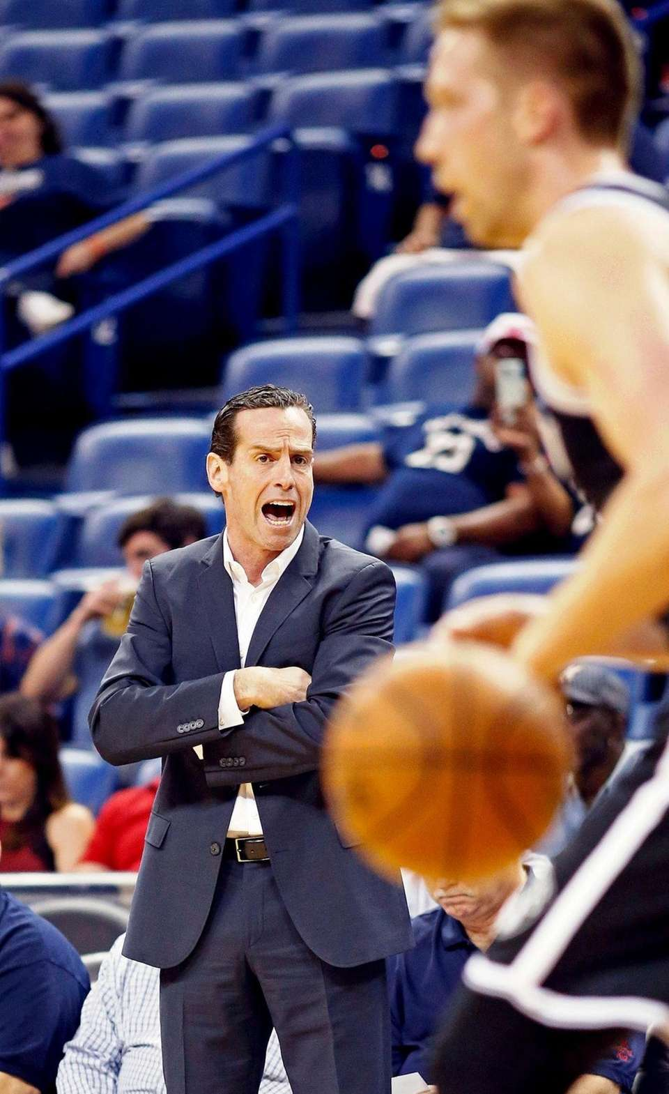 Brooklyn Nets coach Kenny Atkinson shouts to his