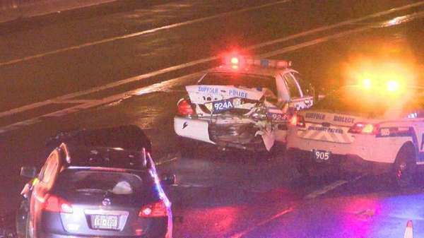 A Suffolk County police officer was injured Friday,