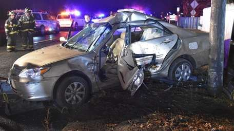 The driver was fatally injured when this sedan