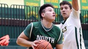 Valley Stream North's John Alimo eyes the basket