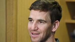 New York Giants quarterback Eli Manning speaks to