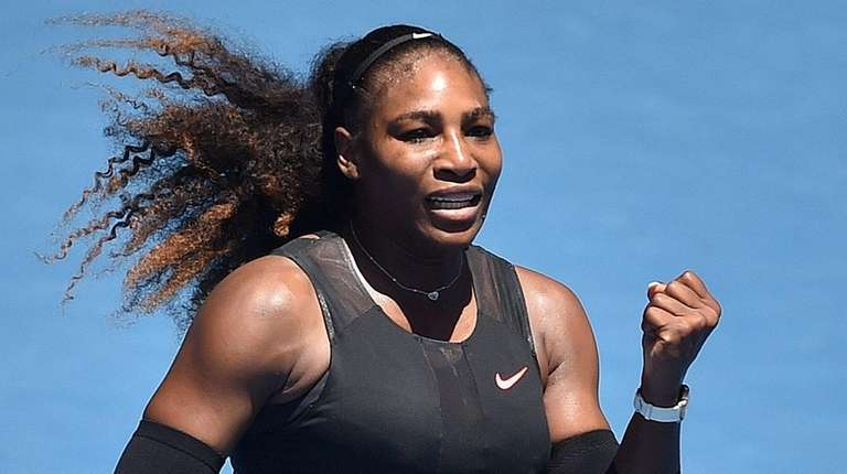 Serena Williams celebrates her win against the Czech