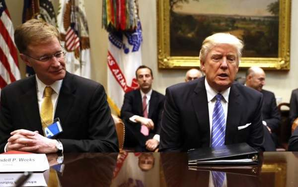 President Donald Trump meets with business leaders in