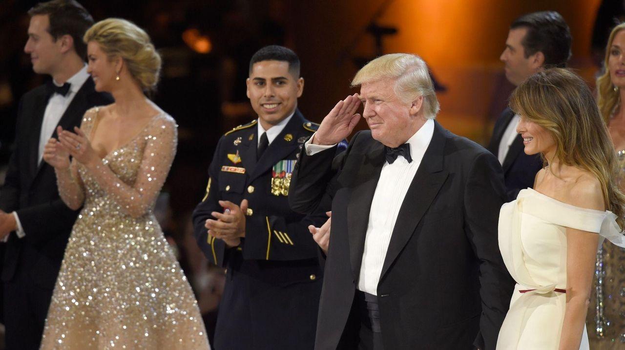 Jared Kushner, left, Ivanka Trump, President Donald Trump