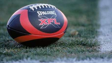 A view of the XFL football taken on