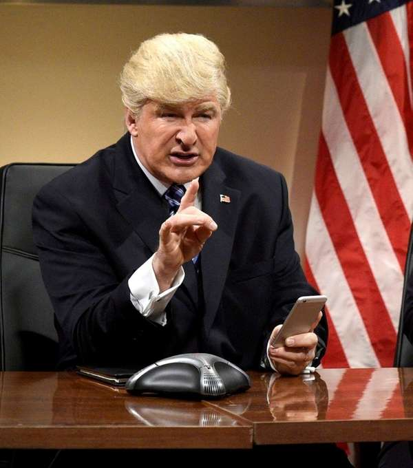 Alec Baldwin impersonates Donald Trump during the