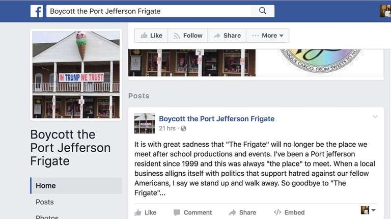 A Facebook page encouraging residents to boycott the