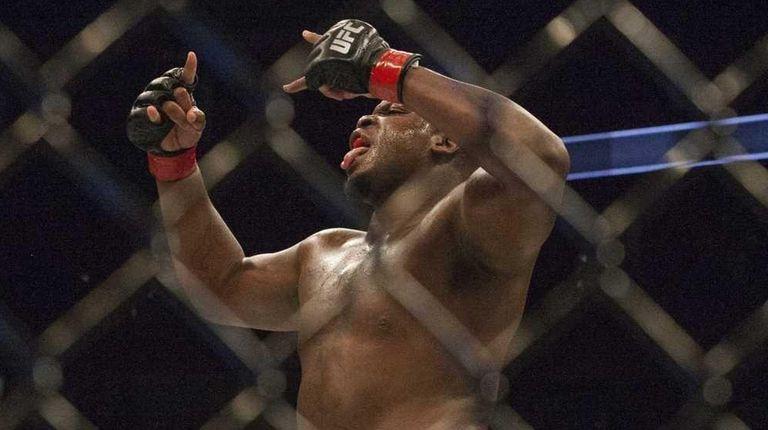 Heavyweight fighter Derrick Lewis celebrates after knockingout Viktor