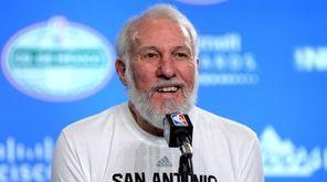 epa05717744 San Antonio Spurs coach, Gregg Popovich, talks