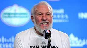 San Antonio Spurs coach Gregg Popovich talks during