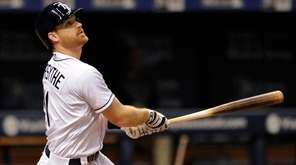Tampa Bay Rays' Logan Forsythe bats during a
