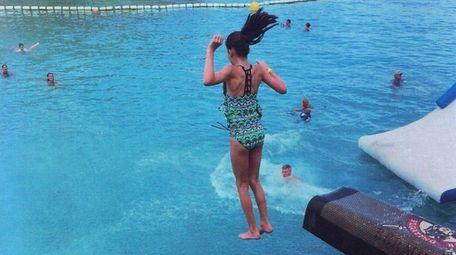 Kidsday reporter Melanie Gangi jumps off a pirate