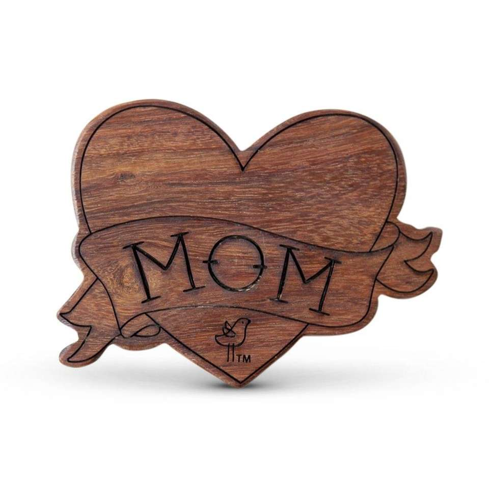 This wood teething rattle is soft, smooth and