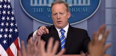 White House press secretary Sean Spicer calls on
