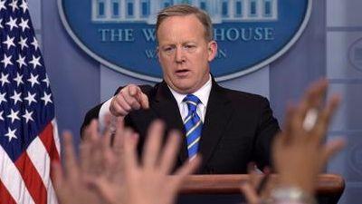 White House press secretary Sean Spicer calls on