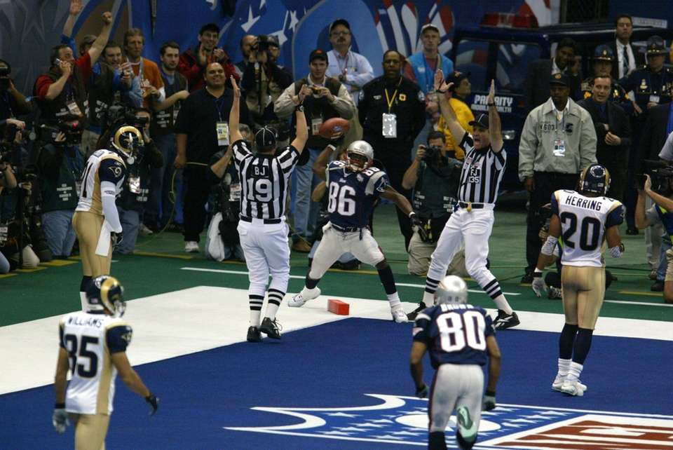 8 yards, Super Bowl XXXVI vs. St. Louis