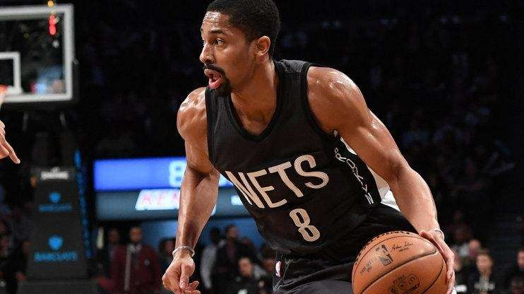 Brooklyn Nets guard Spencer Dinwiddie drives against San