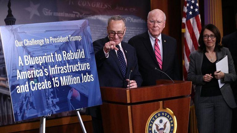 Senate Minority Leader Charles Schumer (D-NY) announces