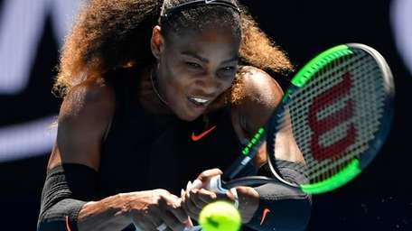 United States' Serena Williams makes a backhand return