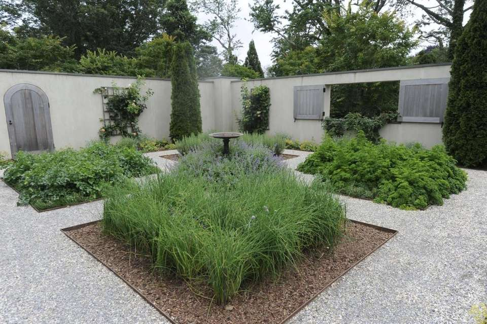 The walled herb garden at Ina Garten's East
