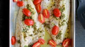 Sea bass fillets are drizzled with a simple