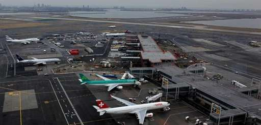 Runways at Kennedy Airport near Jamaica Bay are