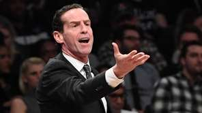 Brooklyn Nets head coach Kenny Atkinson reacts against
