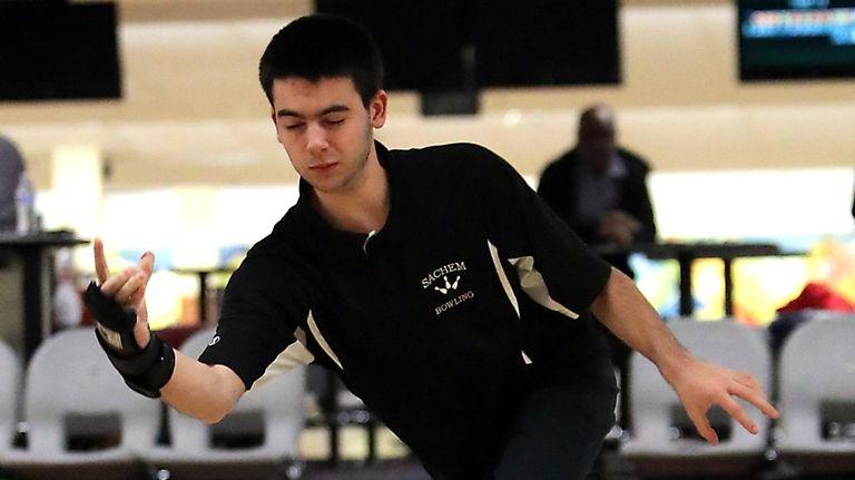 Sachem's Mike Grimaldi bowls during a match at