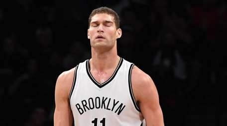 Brooklyn Nets center Brook Lopez reacts after on