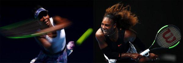 This composite image shows Venus Williams, left, and
