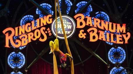 A circus performer during a Ringling Bros. and