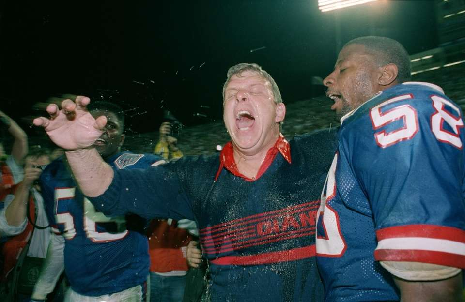 New York Giants head coach Bill Parcells lets