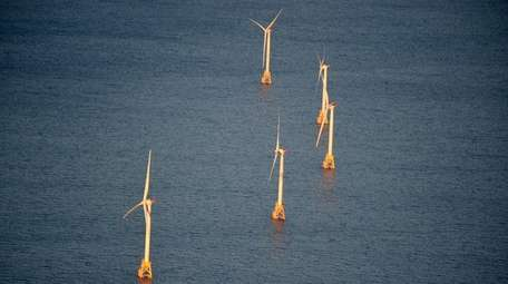An aerial view of the Deepwater wind farm,