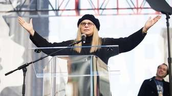 Actress Barbra Streisand speaks onstage at the women's