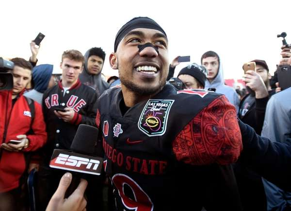 San Diego State running back Donnel Pumphrey smiles