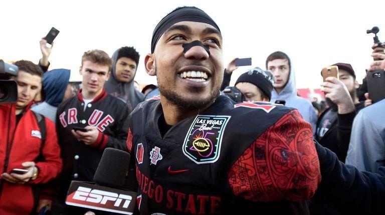 San Diego State running back Donnel Pumphrey smiles