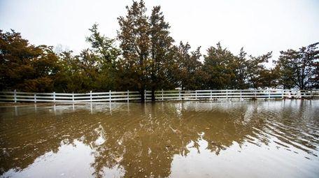 Water from the Peconic Bay floods Cedar Beach