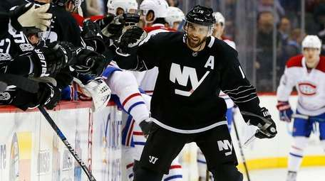 Andrew Ladd of the New York Islanders celebrates